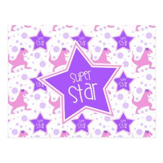 Super Star Dinosaur Postcard in Purple and Pink