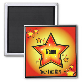 Super Star Gold Orange Superstar Custom Square Magnet