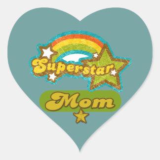 Super Star Mom Heart Sticker