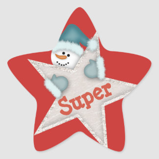 Super Star Snowman Star Sticker
