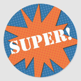Super Starburst - Blue & Orange Classic Round Sticker
