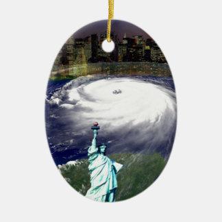 Super Storm Sandy 2012,Eye of the storm_ Ceramic Oval Ornament