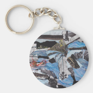 Super storm Sandy collage Basic Round Button Keychain