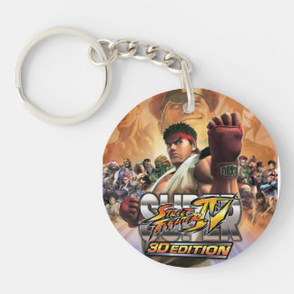 Super Street Fighter IV 3D Edition Box Art Double-Sided Round Acrylic Keychain