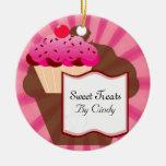 Super Sweet Cupcake Bakery Round Ceramic Ornament