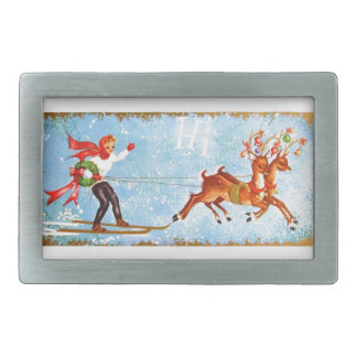 Super Sweet Vintage Reindeer Christmas Rectangular Belt Buckle