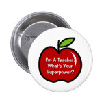 Super teacher buttons with red apple