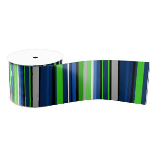 Super Team Sport Stripe Ribbon in blue and green Grosgrain Ribbon