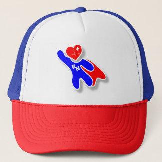 Super Wonder Registered Nurse RN, With Red Heart Trucker Hat