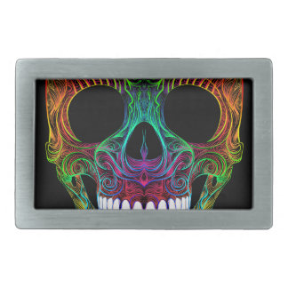 Superb Sugar Skull Dia De Los Muertos Candy Skull Rectangular Belt Buckle