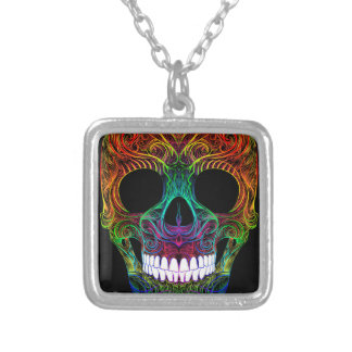 Superb Sugar Skull Dia De Los Muertos Candy Skull Silver Plated Necklace