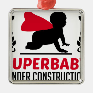 superbaby under construction Silver-Colored square ornament
