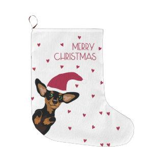 Supercute dachshund puppy with santa hat large christmas stocking