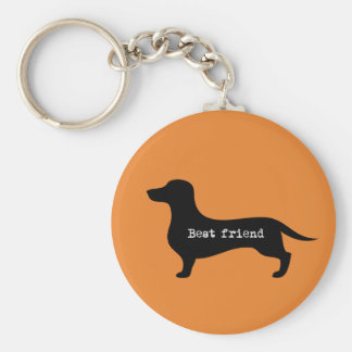 Supercute dachshund with floppy ears and hearts keychain