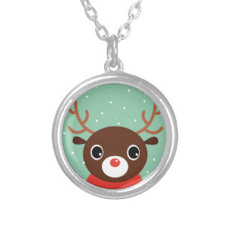 Supercute kids brown Reindeer Silver Plated Necklace