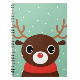 Supercute kids brown Reindeer Spiral Notebook