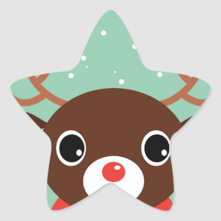 Supercute kids brown Reindeer Star Sticker