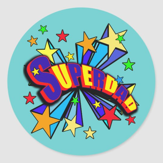 SuperDad! with Stars and Cartoon Design Classic Round Sticker