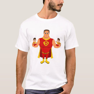 Superdad with twins - cartoon T-Shirt