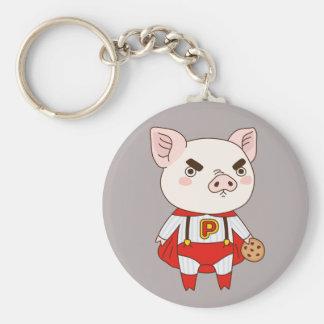 Superduper Piggy Basic Round Button Keychain