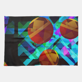 Superficial Red Bright Geometric Abstract Kitchen Towel