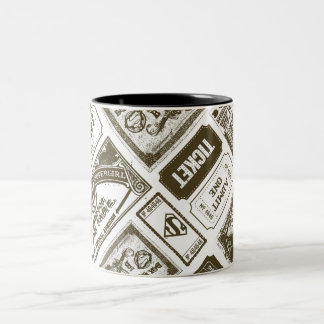 Supergirl Admit One Pattern Brown Two-Tone Coffee Mug