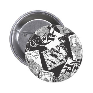 Supergirl Black and White Collage Pin