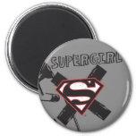 Supergirl Black Safety Pins 2 Inch Round Magnet