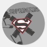 Supergirl Black Safety Pins Round Sticker