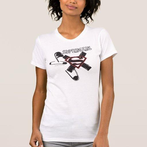 Supergirl Black Safety Pins T-Shirt