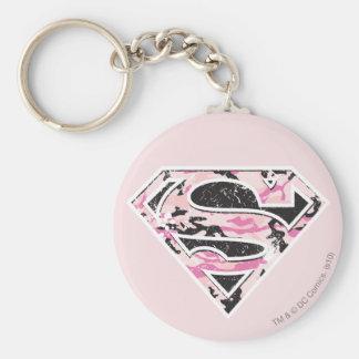 Supergirl Camouflage Logo Basic Round Button Keychain
