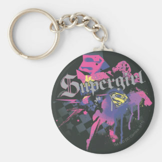 Supergirl Checkered Splatter Keychain