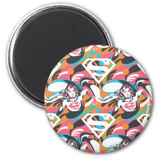 Supergirl Color Splash Swirls Pattern 4 Magnets