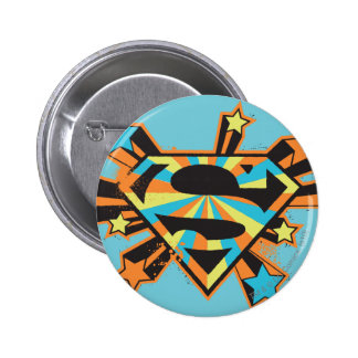 Supergirl Colorful Stars Logo 2 Inch Round Button