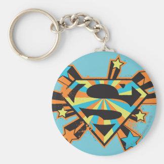 Supergirl Colorful Stars Logo Basic Round Button Keychain