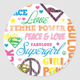 Supergirl Colorful Text Collage Classic Round Sticker