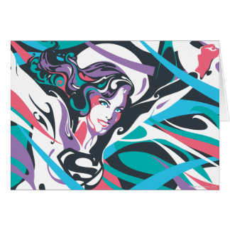 Supergirl Colour Splash Swirls 2 Greeting Card