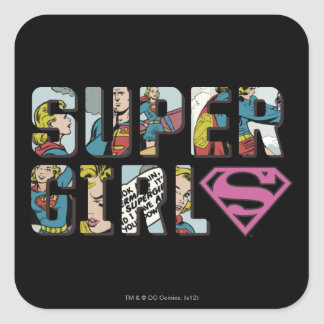 Supergirl Comic Logo Square Sticker
