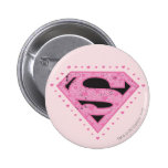 Supergirl Distressed Logo Black and Pink 2 Inch Round Button