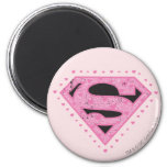 Supergirl Distressed Logo Black and Pink 2 Inch Round Magnet