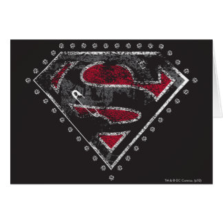 Supergirl Distressed Logo Black and Red Greeting Card