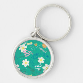 Supergirl for Peace Pattern Silver-Colored Round Keychain