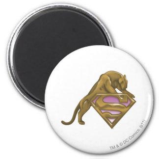 Supergirl Golden Cat 2 Inch Round Magnet