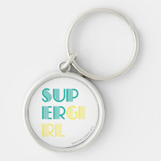 Supergirl Green and Yellow Silver-Colored Round Keychain