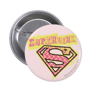 Supergirl Grunge Logo Pink Buttons