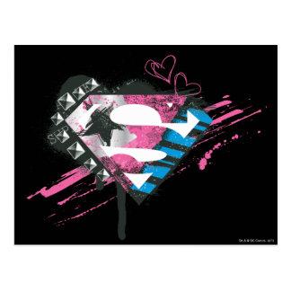 Supergirl Hearts Logo Postcard