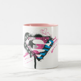 Supergirl Hearts Logo Two-Tone Coffee Mug