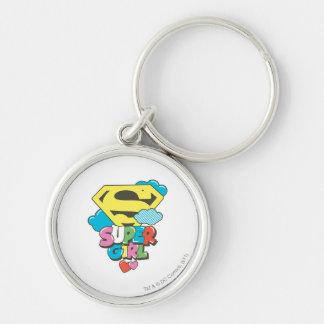 Supergirl J-Pop 5 Silver-Colored Round Keychain