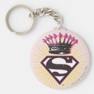 Supergirl Logo with Crown Basic Round Button Keychain