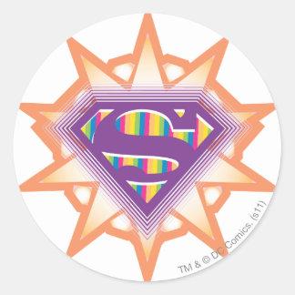 Supergirl Orange Starburst Classic Round Sticker